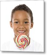 Boy With Lollipop Metal Print