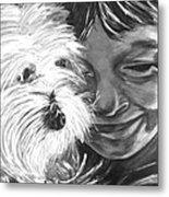 Boy With Pet Dog Metal Print