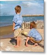 Boys And The Sea Metal Print