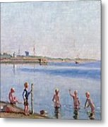 Boys At Water's Edge Metal Print by Johan Rohde