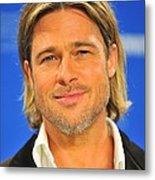 Brad Pitt At The Press Conference Metal Print by Everett