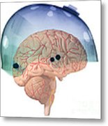Brain In Skateboard Helmet Metal Print