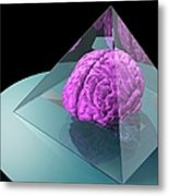 Brain Trapped In A Pyramid, Artwork Metal Print