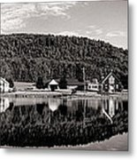 Brant Lake Reflections Black And White Metal Print