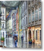 Bratislava Rainy Day In Old Town Metal Print