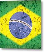Brazil Flag Vintage Metal Print by Jane Rix