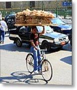 Bread On A Bicycle Metal Print