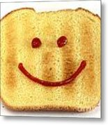 Bread With Happy Face Metal Print