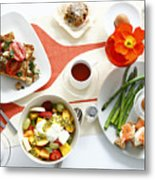 Breakfast Dishes On Table Metal Print