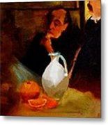 Breaktime With Oranges And Milk Jug Man Deep In Philosophical Thought With Mysterious Boy Servant Metal Print by M Zimmerman MendyZ