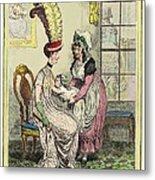 Breastfeeding, 18th-century Caricature Metal Print