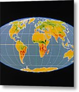 'breathing Earth' Co2 Input/output, Global Map Metal Print