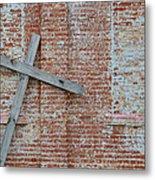 Brick Wall Cross Metal Print