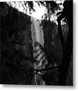 Bridalveil In Background Black And White Metal Print