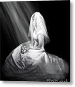 Bride In Cascading Light Metal Print