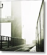 Bridge In Mist Metal Print