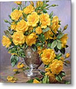 Bright Smile - Roses In A Silver Vase Metal Print