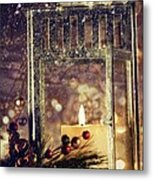 Brightly Lit Lantern In The Snow Metal Print