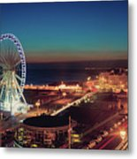Brighton Wheel And Seafront Lit Up At Night Metal Print by PhotoMadly