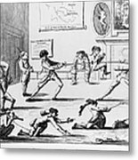 British Officers: Cartoon. English Cartoon Satire, 1777, On The Want Of Training Of British Officers To Prepare Them For The American War Metal Print