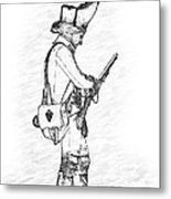 British Soldier With Rifle Sketch Metal Print