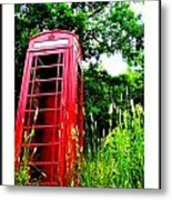 British Telephone Booth In A Field Metal Print by Kara Ray