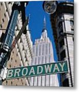 Broadway Sign And Empire State Building Metal Print by Axiom Photographic