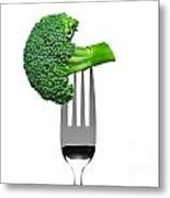 Broccoli On A Fork Isolated On White Metal Print by Richard Thomas