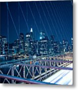 Brooklyn Bridge And Lower Manhattan By Night Metal Print