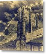 Brooklyn Bridge At Night - Blue Daguerreotype Metal Print