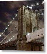 Brooklyn Bridge At Night - Btc-merge Metal Print