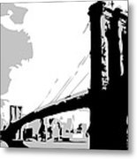 Brooklyn Bridge Bw Metal Print