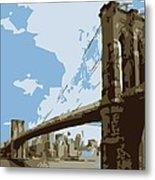 Brooklyn Bridge Color 6 Metal Print