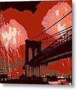 Brooklyn Bridge Fireworks Color 6 Metal Print