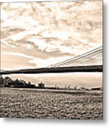 Brooklyn Bridge In Sepia Metal Print