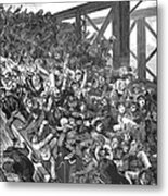 Brooklyn Bridge Panic 1883 Metal Print