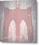 Brooklyn Bridge Red Metal Print