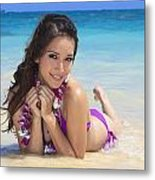 Brunette On Beach Metal Print by Tomas del Amo