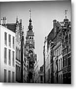 Brussels In Black And White Metal Print