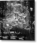 Bubble Blower Of Central Aprk In Black And White Metal Print