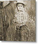 Buckaroo Cowgirl And Horse Metal Print by Cindy Singleton