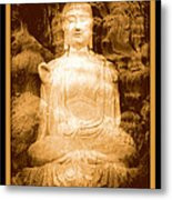 Buddha And Ancient Tree With Border Metal Print
