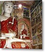 Buddha Image In Po Win Taung Caves. Metal Print