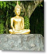 Buddha Statue Under Green Tree In Meditative Posture Metal Print
