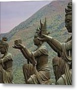 Buddhistic Statues Metal Print by Karen Walzer