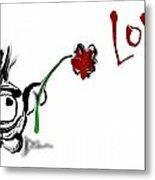 Budgieball With Flower Metal Print