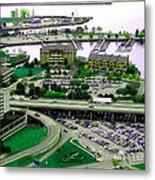 Buffalo New York Waterfront Aerial View Ultraviolet Effect Metal Print