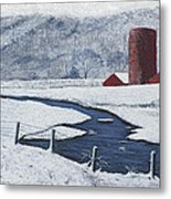 Buffalo River Valley In Snow Metal Print