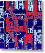 Building Facade In Blue And Red Metal Print