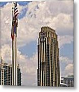 Buildings And Flags Against Sky Metal Print